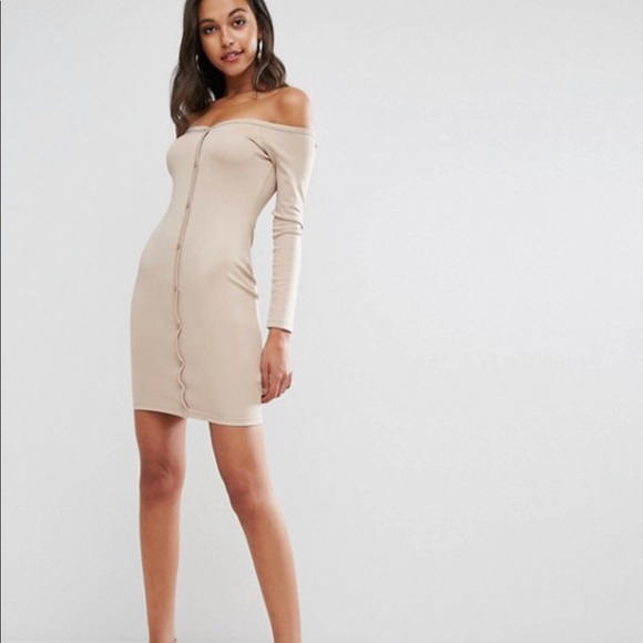 30f3260223c ASOS Off Shoulder Button Mini Bodycon Dress Jersey